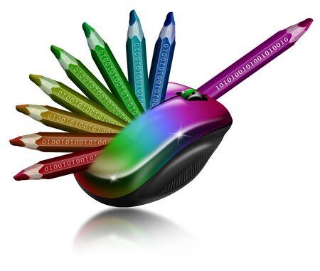 bin�rcode: Illustration mit Multicolor-Maus mit 9 Buntstifte und Bin�rcode Lizenzfreie Bilder