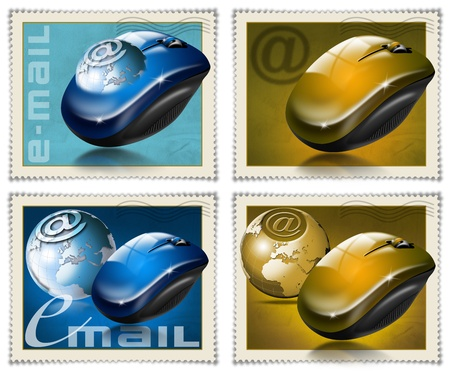 Four stamps with the mouse, globe and symbol e-mail photo