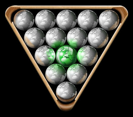 affirmation: Illustration with triangle and pool balls shaped globe, the concept of business or ecology