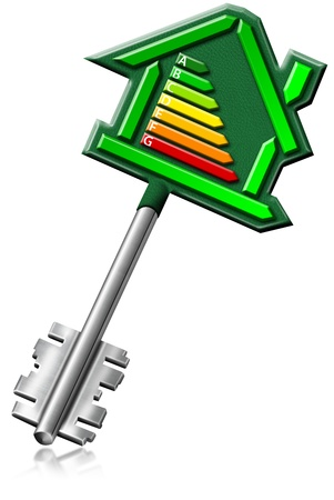 Illustration with home key with certification electric output Stock Illustration - 10810084
