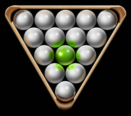 affirmation: Illustration with triangle and white pool balls and one green, the concept of business or leader Stock Photo