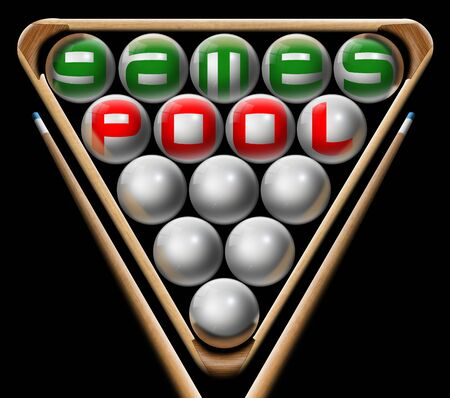 snooker cues: Illustration with triangle, pool balls, written pool games and two pool cues
