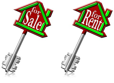 local supply: Illustration with house keys or generic building and written for sale and for rent Stock Photo