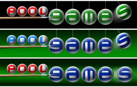 Einsatzzeichen: Drei Illustrationen mit Billardkugeln, Pool-Spiele geschrieben und ein Pool Queues