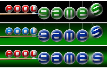 snooker cues: Three illustrations with pool balls, written pool games and one pool cues