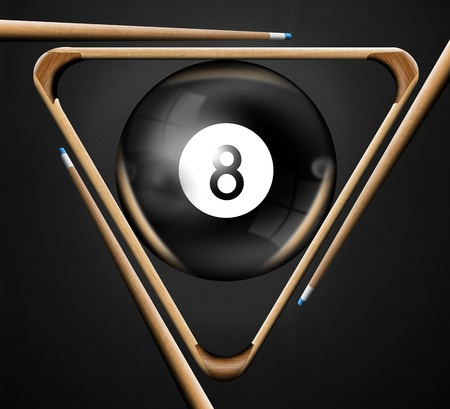 pool balls: Illustration with triangle, pool balls number 8, and three pool cues Stock Photo