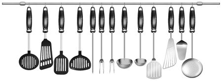 baking dish: Illustration with 13 kitchen utensils hanging on steel pole on a white background