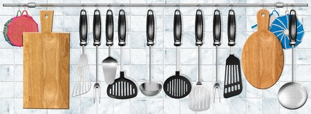Illustration with kitchen utensils hanging on steel pole on a marble background