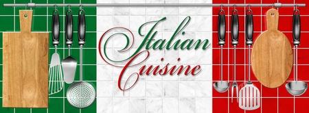 restaurante italiano: Utensilios de cocina colgados en el poste de acero sobre un fondo de m�rmol y la cocina italiana escrita Foto de archivo