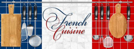 Kitchen utensils hanging on steel pole on a marble background and written french cuisine photo