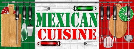 Concept of mexican cuisine with kitchen tools and national flag photo
