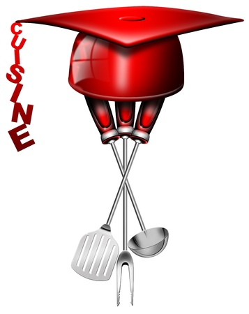speciality: Illustration with three kitchen tools with hat degree, professional concept of international cuisine