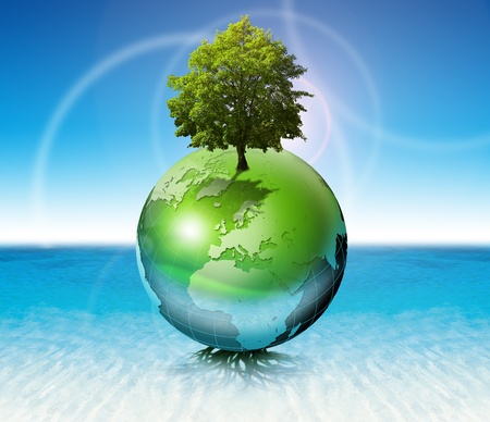 water ecosystem: Terrestrial globe on the water with roots and tree, the concept of ecology and purity Stock Photo