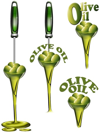 savoury: 4 illustrations with ladle full of olives and olive oil flow Stock Photo