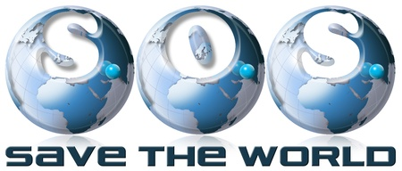 3 blue globes with writing S.O.S. Save the world Stock Photo - 11125514