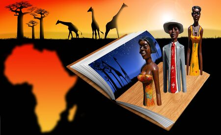 Illustration  with open book, african landscape, wooden sculptures and African territory illustration