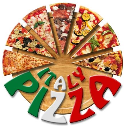 pizza: Pizza plakjes op de snijplank en geschreven Italië Pizza Stockfoto