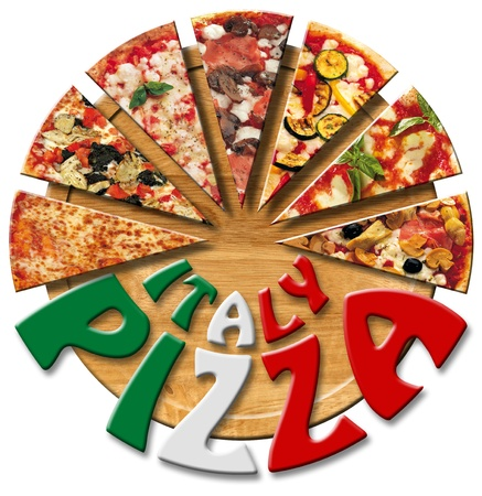 Pizza slices on the cutting board and written Italy Pizza Stock Photo - 11187401