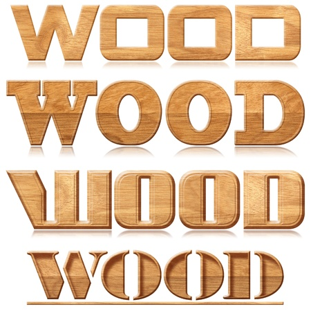 woodworking: Four words wood with reflection in wood material