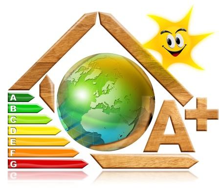 certification: Casa de madera estilizadas con la certificaci�n de salida el�ctrica y de la tierra