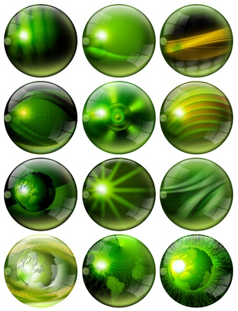 12 green spheres with of fantasy with reflections and terrestrial globes Stock Photo - 11293940