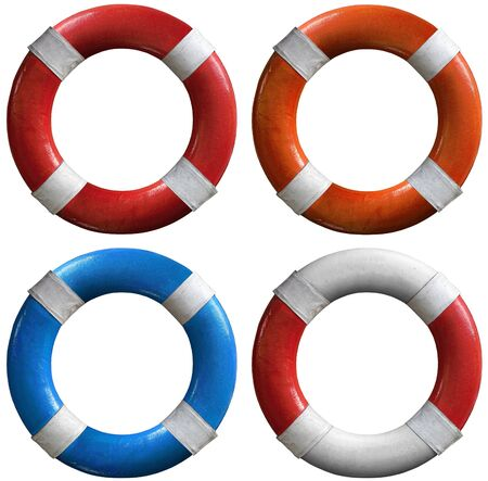Four life buoys of various colors: red and white, orange and white, blue and white photo