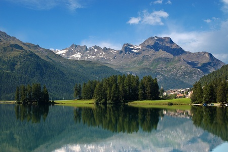 Swiss Alpine Landscape with lake, woodland and small town photo