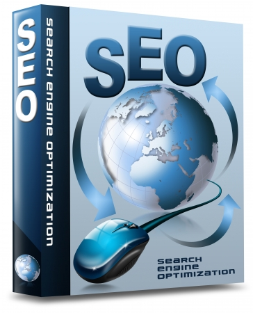 Box with globe, mouse and written SEO photo