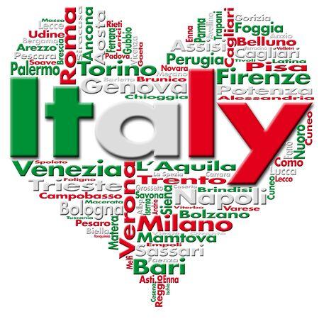 mil�n: Escrito Italia y las ciudades italianas con forma de coraz�n, colores de la bandera italiana
