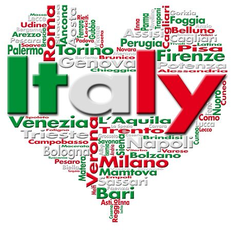 Written Italy and Italian cities with heart-shaped, Italian flag colors