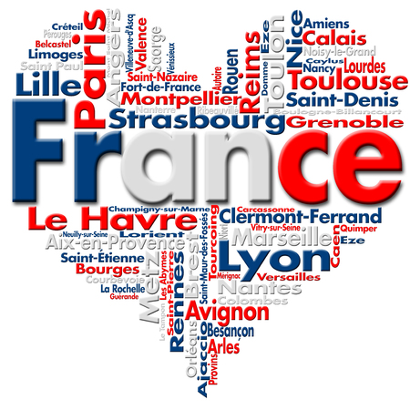 Written France and French cities with heart-shaped, French flag colors