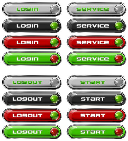 rectangle button: Four Web buttons - login, service, logout, start Stock Photo