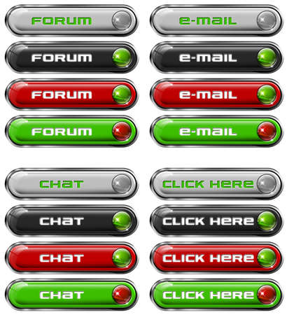 Four Web buttons - forum, e-mail, chat, click here Stock Photo - 11588196
