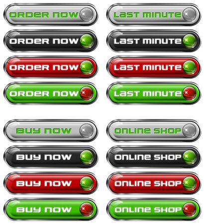 Four Web buttons - order now, last minute, buy now, online shop Stock Photo - 11588201