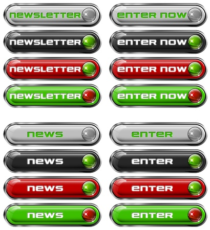 Four Web buttons - newsletter, enter now, news, enter Stock Photo - 11588200
