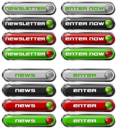 Four Web buttons - newsletter, enter now, news, enter Stock Photo - 11588200