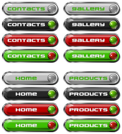 Four Web buttons - contacts, gallery, home, products Stock Photo - 11588199