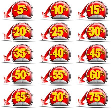 reduced value: Juego de pegatinas para la venta con descuentos y flecha roja
