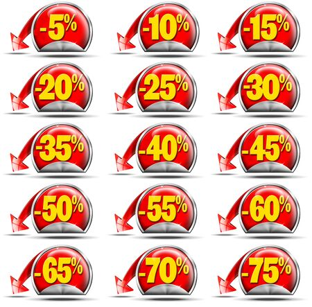 reduced value: Set of stickers for sale with discounts and red arrow Stock Photo
