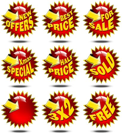 cost reduction: Set of labels for sale with promotions and yellow arrow