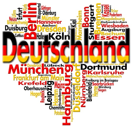 Written Deutschland and german cities with heart-shaped, german flag colors