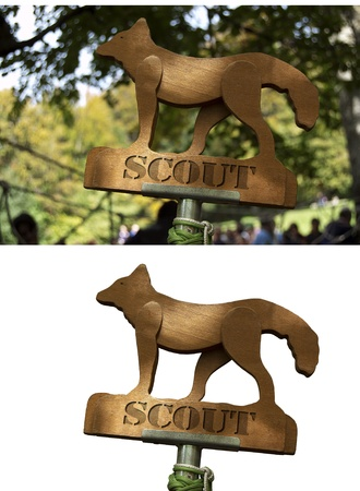 scouts: Scouts Totem - wooden sign depicting a small wolf
