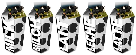 skim: 6 White carton milk with black spots and cows grazing on the top Stock Photo