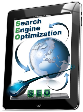 increase visibility: Tablet computer with the icons SEO, search engine optimization
