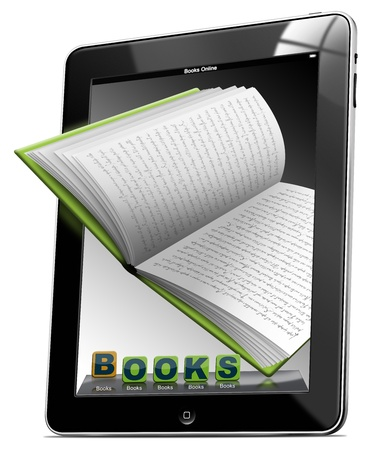 Tablet computer with the icons BOOKS and open book Stock Photo - 11808696