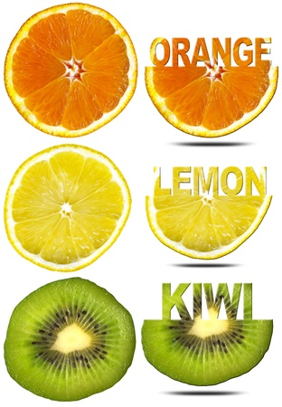 Three slices of orange, lemon and kiwi with written and shadow photo