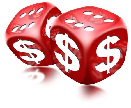 american roulette: Pair of red dice with six and dollar sign on white background