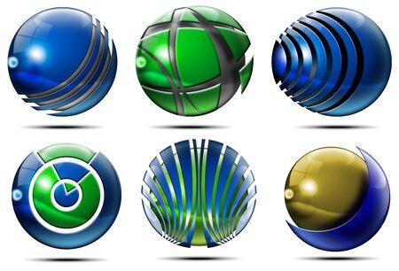 earth logo: Six Spheres, set of elements for logo design