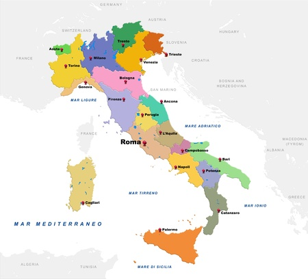 Map of Italy with the countries and provincial capitals