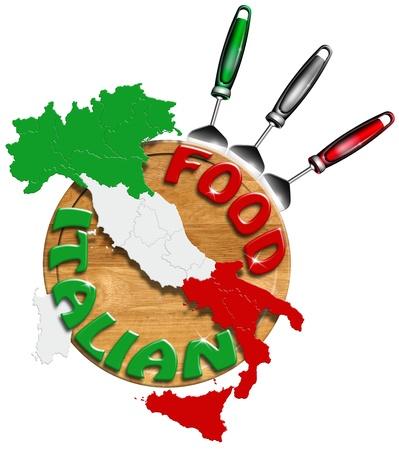 restaurante italiano: El concepto de comida italiana con utensilios de cocina y un mapa de Italia Foto de archivo